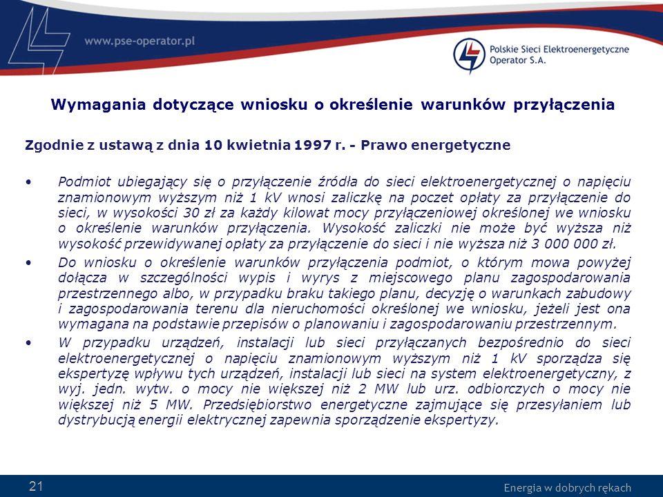 Energia w dobrych rękach 21 Wymagania dotyczące wniosku o określenie warunków przyłączenia Zgodnie z ustawą z dnia 10 kwietnia 1997 r. - Prawo energet