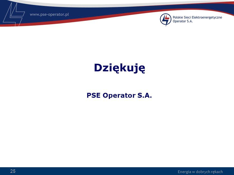 Energia w dobrych rękach 25 Dziękuję PSE Operator S.A.