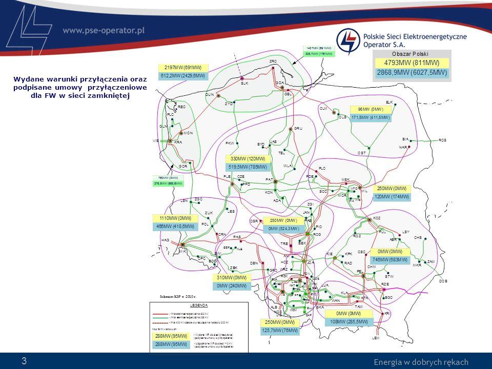 Energia w dobrych rękach 3 Wydane warunki przyłączenia oraz podpisane umowy przyłączeniowe dla FW w sieci zamkniętej