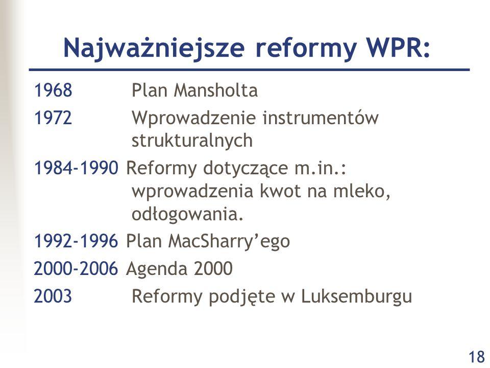 18 Najważniejsze reformy WPR: 1968Plan Mansholta 1972Wprowadzenie instrumentów strukturalnych 1984-1990 Reformy dotyczące m.in.: wprowadzenia kwot na