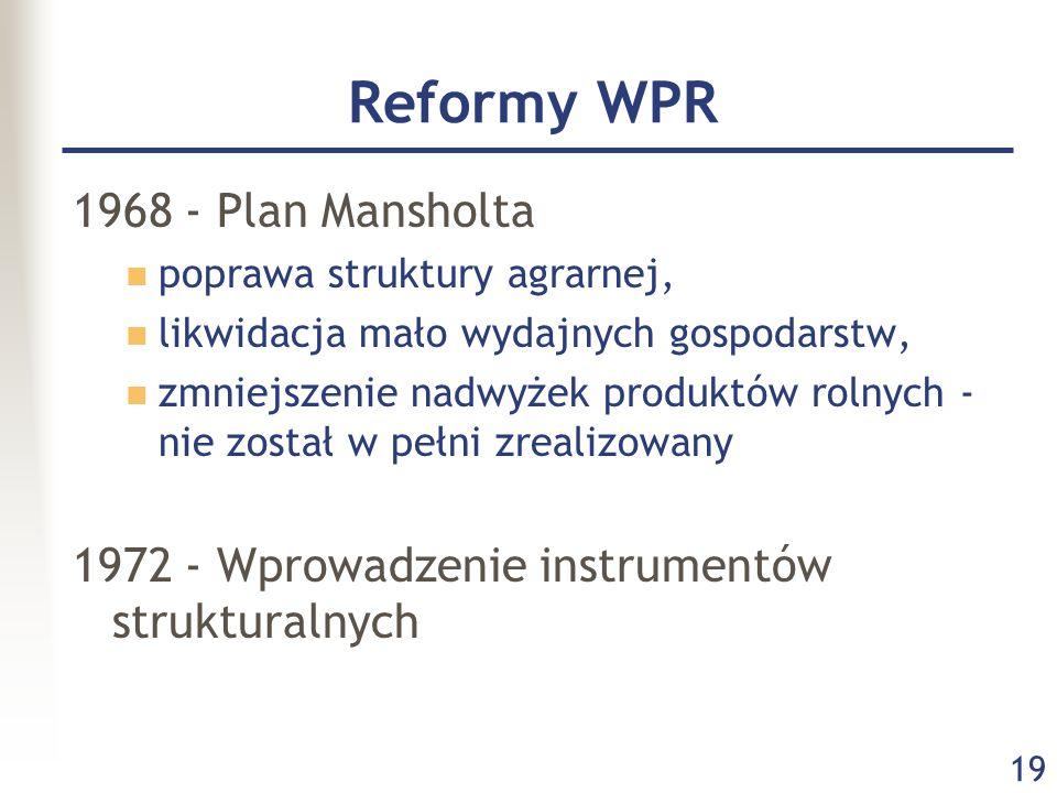 19 Reformy WPR 1968 - Plan Mansholta poprawa struktury agrarnej, likwidacja mało wydajnych gospodarstw, zmniejszenie nadwyżek produktów rolnych - nie
