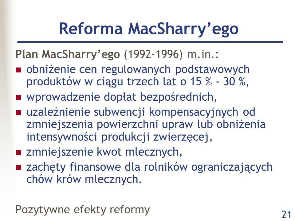 21 Reforma MacSharryego Plan MacSharryego (1992-1996) m.in.: obniżenie cen regulowanych podstawowych produktów w ciągu trzech lat o 15 % - 30 %, wprow