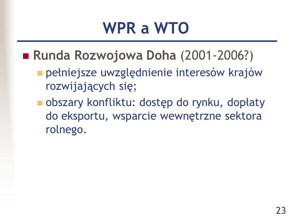 23 WPR a WTO Runda Rozwojowa Doha (2001-2006?) pełniejsze uwzględnienie interesów krajów rozwijających się; obszary konfliktu: dostęp do rynku, dopłat