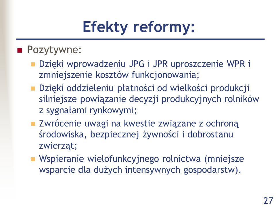 27 Efekty reformy: Pozytywne: Dzięki wprowadzeniu JPG i JPR uproszczenie WPR i zmniejszenie kosztów funkcjonowania; Dzięki oddzieleniu płatności od wi
