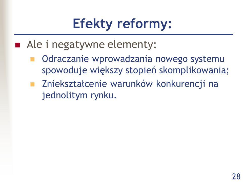 28 Efekty reformy: Ale i negatywne elementy: Odraczanie wprowadzania nowego systemu spowoduje większy stopień skomplikowania; Zniekształcenie warunków