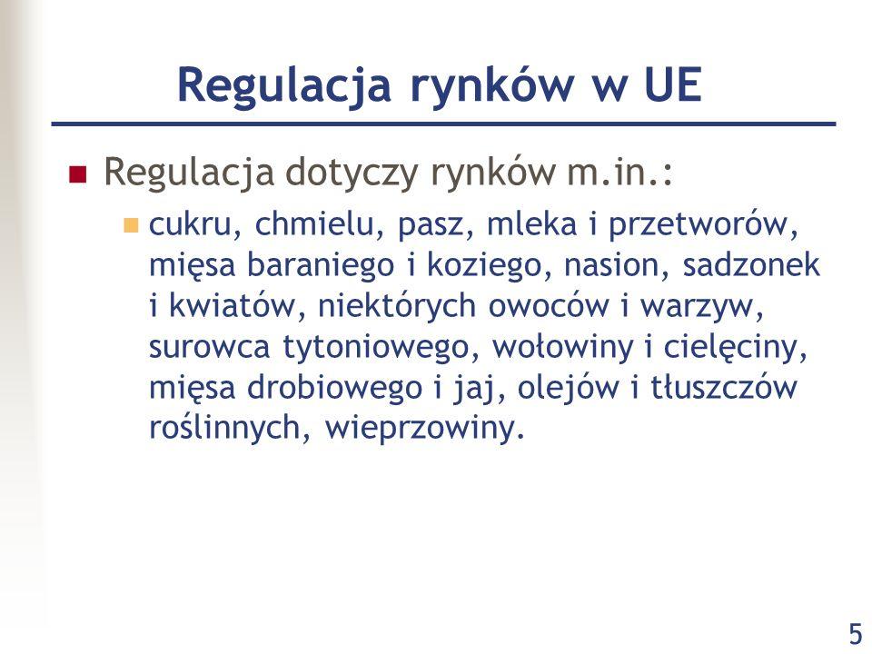 5 Regulacja rynków w UE Regulacja dotyczy rynków m.in.: cukru, chmielu, pasz, mleka i przetworów, mięsa baraniego i koziego, nasion, sadzonek i kwiató