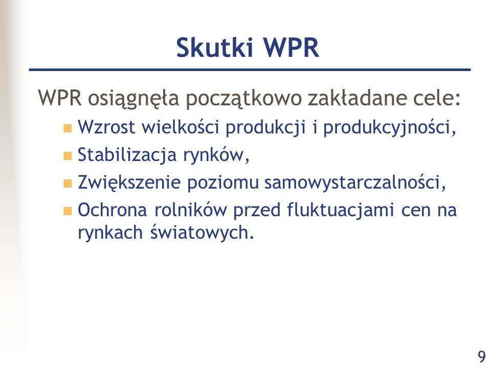 9 Skutki WPR WPR osiągnęła początkowo zakładane cele: Wzrost wielkości produkcji i produkcyjności, Stabilizacja rynków, Zwiększenie poziomu samowystar