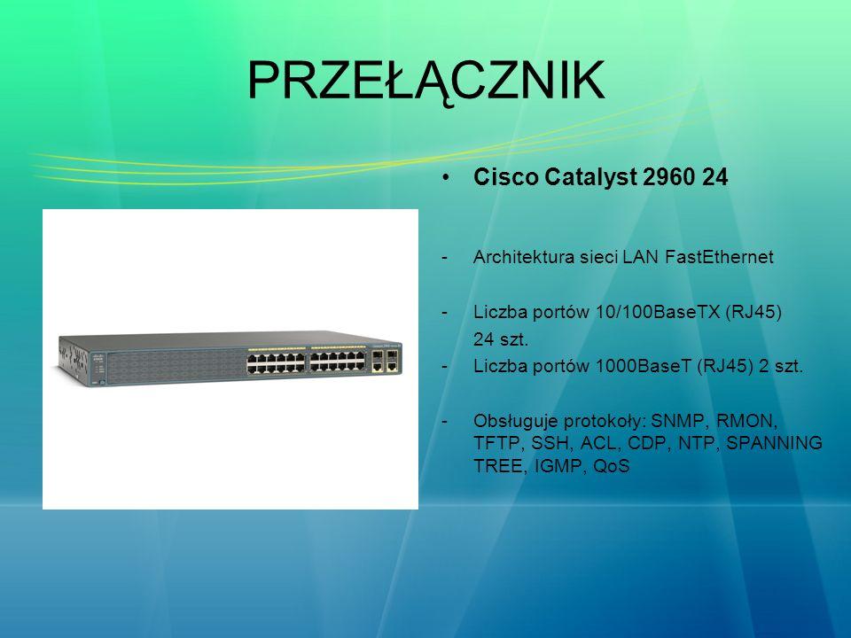 PRZEŁĄCZNIK Cisco Catalyst 2960 24 -Architektura sieci LAN FastEthernet -Liczba portów 10/100BaseTX (RJ45) 24 szt. -Liczba portów 1000BaseT (RJ45) 2 s