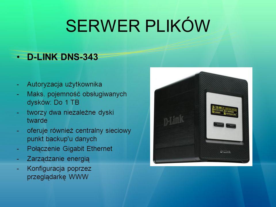 SERWER PLIKÓW D-LINK DNS-343 -Autoryzacja użytkownika -Maks. pojemność obsługiwanych dysków: Do 1 TB -tworzy dwa niezależne dyski twarde -oferuje równ