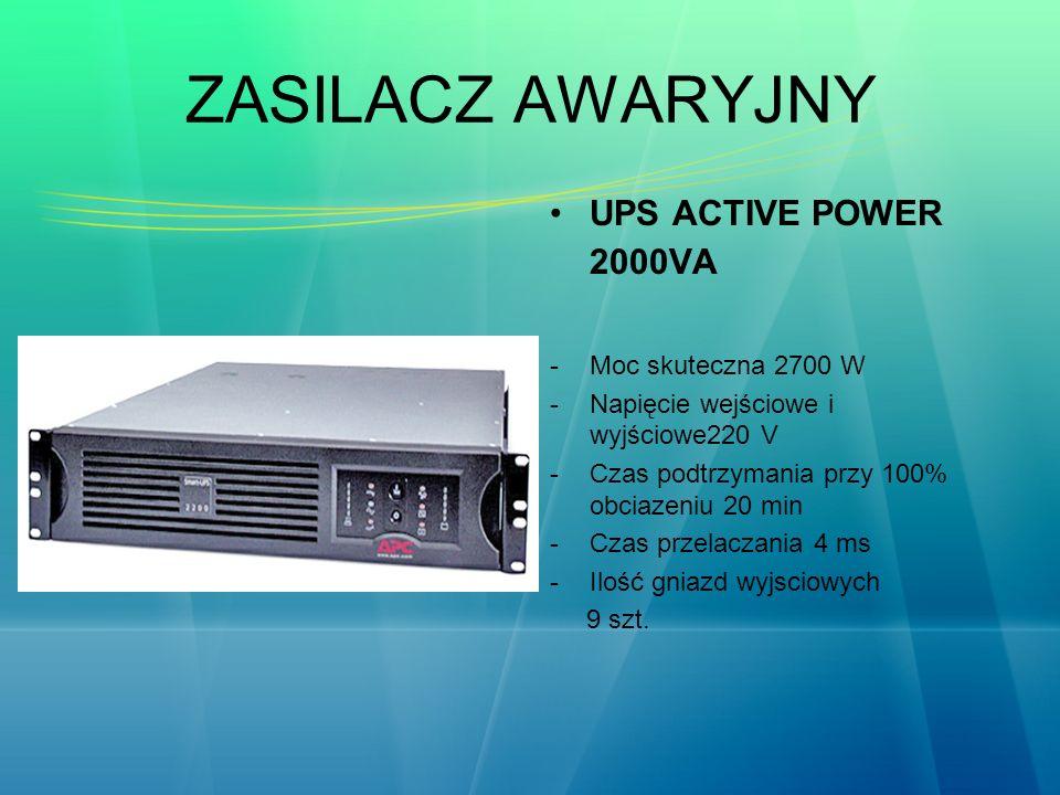 ZASILACZ AWARYJNY UPS ACTIVE POWER 2000VA -Moc skuteczna 2700 W -Napięcie wejściowe i wyjściowe220 V -Czas podtrzymania przy 100% obciazeniu 20 min -C