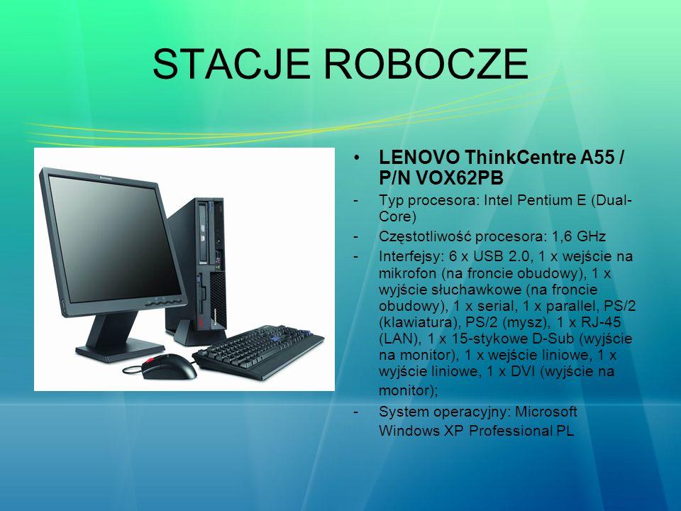 STACJE ROBOCZE LENOVO ThinkCentre A55 / P/N VOX62PB -Typ procesora: Intel Pentium E (Dual- Core) -Częstotliwość procesora: 1,6 GHz -Interfejsy: 6 x US