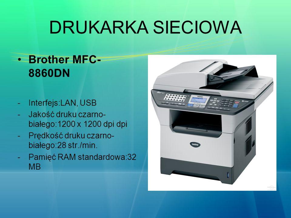 DRUKARKA SIECIOWA Brother MFC- 8860DN -Interfejs:LAN, USB -Jakość druku czarno- białego:1200 x 1200 dpi dpi -Prędkość druku czarno- białego:28 str./mi
