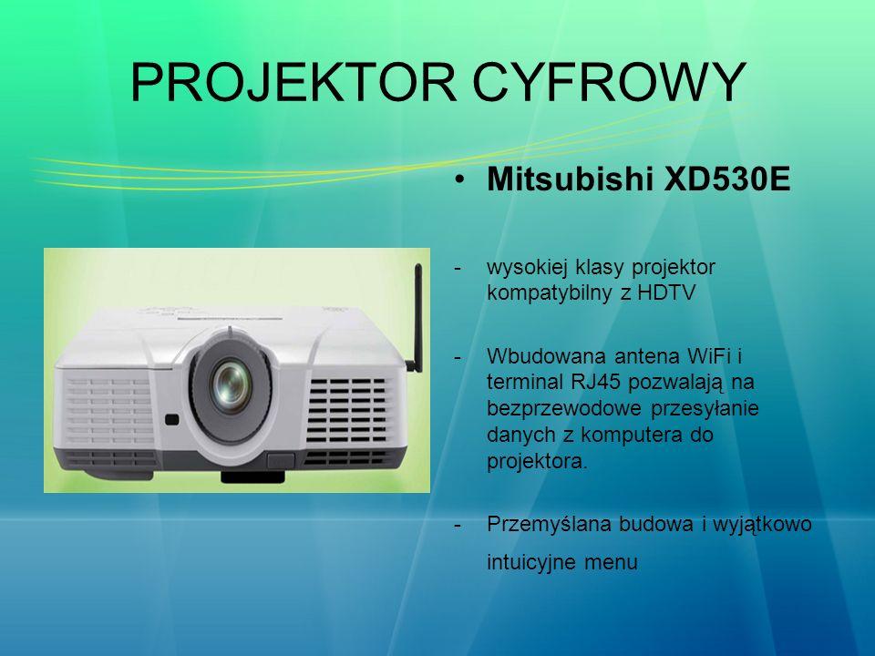 PROJEKTOR CYFROWY Mitsubishi XD530E -wysokiej klasy projektor kompatybilny z HDTV -Wbudowana antena WiFi i terminal RJ45 pozwalają na bezprzewodowe pr