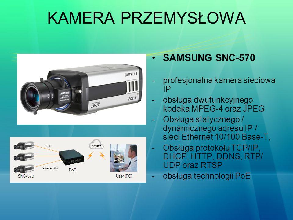KAMERA PRZEMYSŁOWA SAMSUNG SNC-570 -profesjonalna kamera sieciowa IP -obsługa dwufunkcyjnego kodeka MPEG-4 oraz JPEG -Obsługa statycznego / dynamiczne