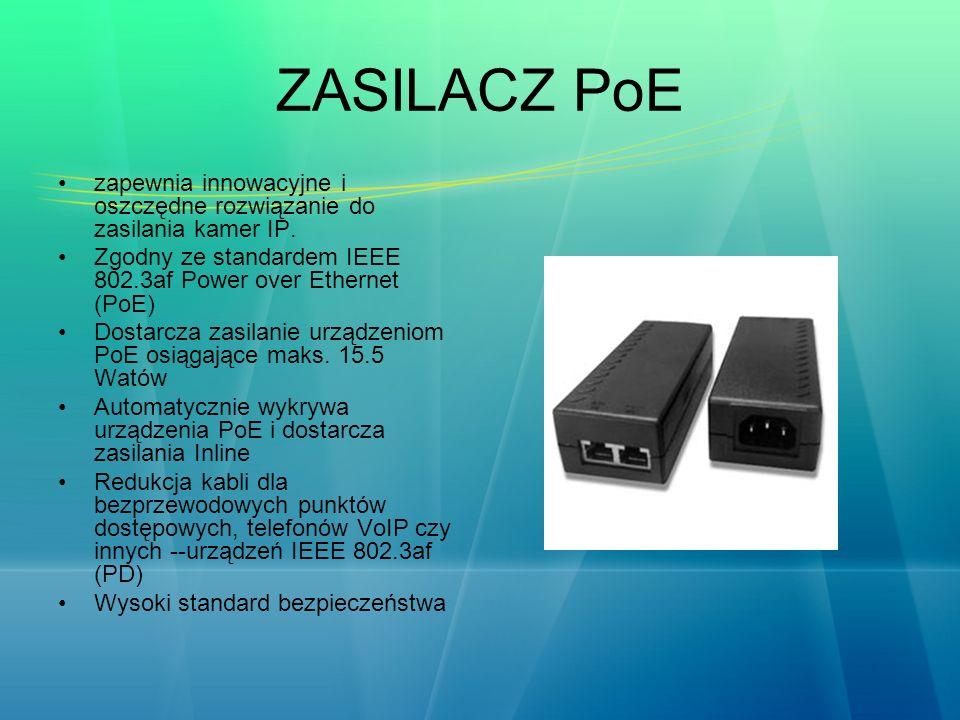 ZASILACZ PoE zapewnia innowacyjne i oszczędne rozwiązanie do zasilania kamer IP. Zgodny ze standardem IEEE 802.3af Power over Ethernet (PoE) Dostarcza