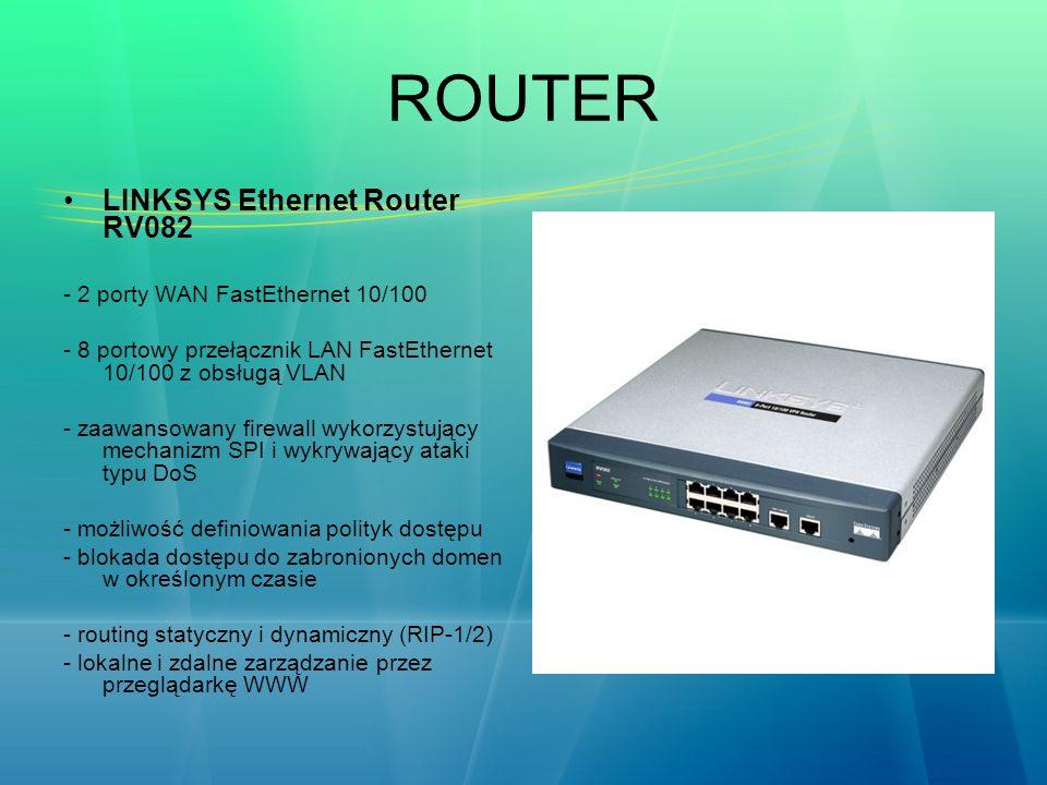 ROUTER LINKSYS Ethernet Router RV082 - 2 porty WAN FastEthernet 10/100 - 8 portowy przełącznik LAN FastEthernet 10/100 z obsługą VLAN - zaawansowany f