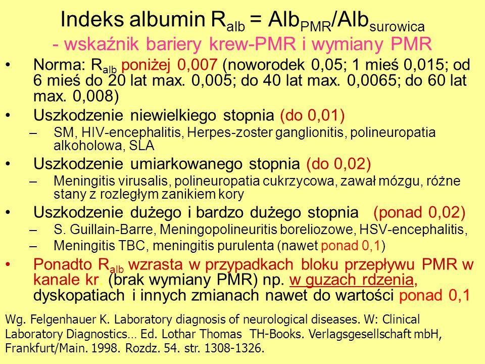 Indeks albumin R alb = Alb PMR /Alb surowica - wskaźnik bariery krew-PMR i wymiany PMR Norma: R alb poniżej 0,007 (noworodek 0,05; 1 mieś 0,015; od 6