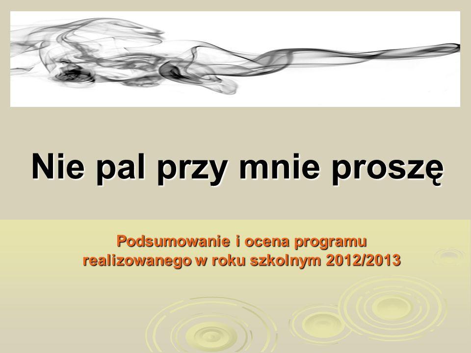Nie pal przy mnie proszę Podsumowanie i ocena programu realizowanego w roku szkolnym 2012/2013