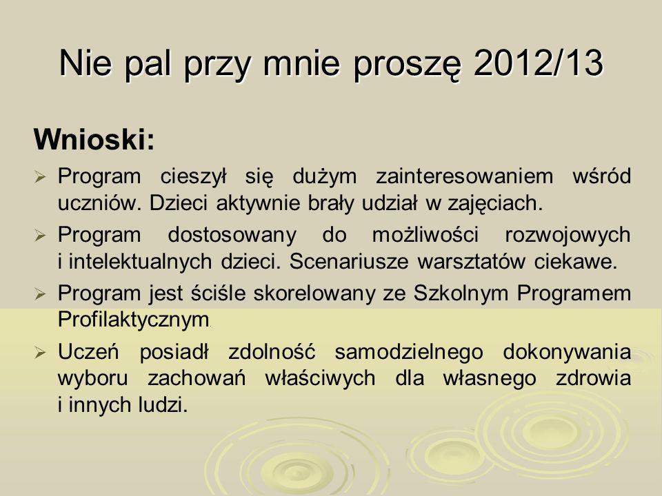 Nie pal przy mnie proszę 2012/13 Wnioski: Program cieszył się dużym zainteresowaniem wśród uczniów. Dzieci aktywnie brały udział w zajęciach. Program