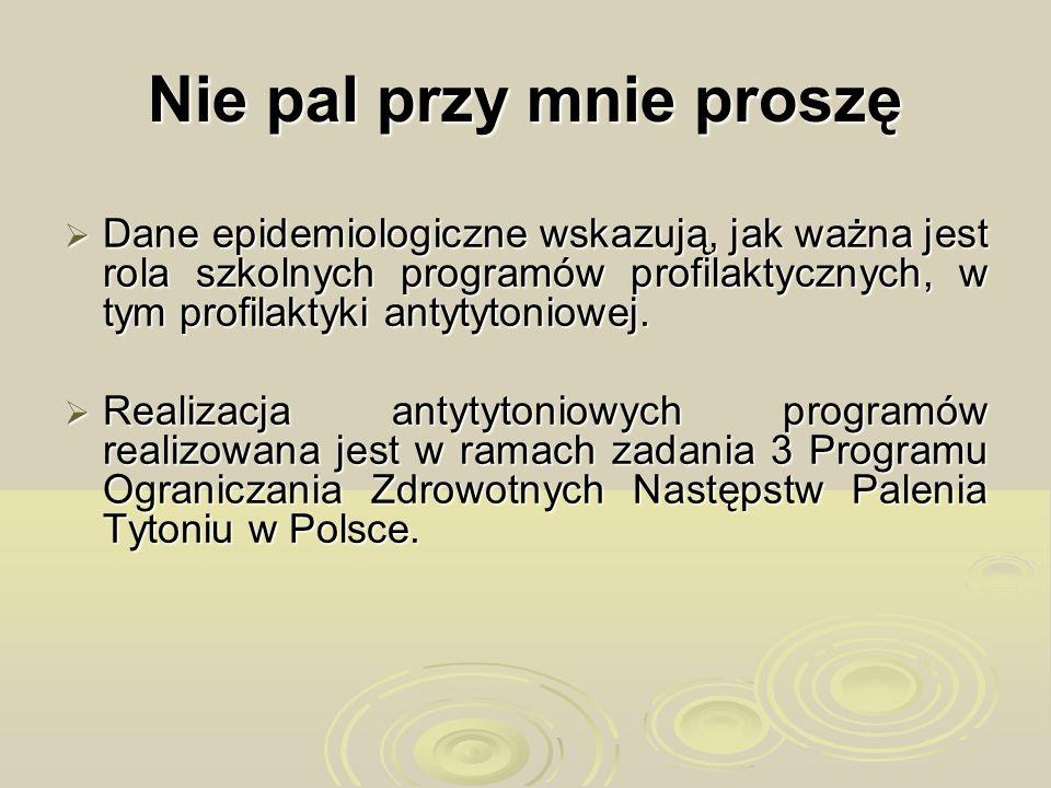 Program Ograniczania Zdrowotnych Następstw Palenia Tytoniu w Polsce Program Ograniczania Zdrowotnych Następstw Palenia Tytoniu w Polsce jest programem profilaktycznym wynikającym z treści art.