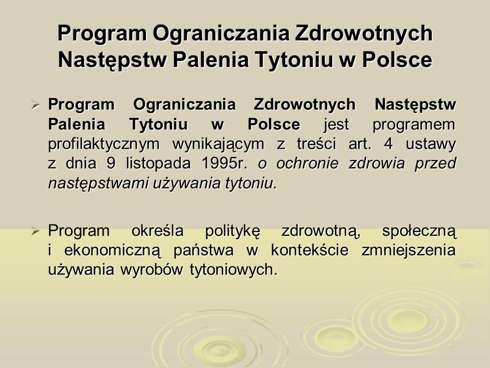 Program Ograniczania Zdrowotnych Następstw Palenia Tytoniu w Polsce Program Ograniczania Zdrowotnych Następstw Palenia Tytoniu w Polsce jest programem
