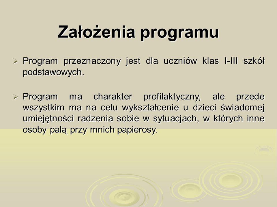 Założenia programu Program przeznaczony jest dla uczniów klas I-III szkół podstawowych. Program przeznaczony jest dla uczniów klas I-III szkół podstaw