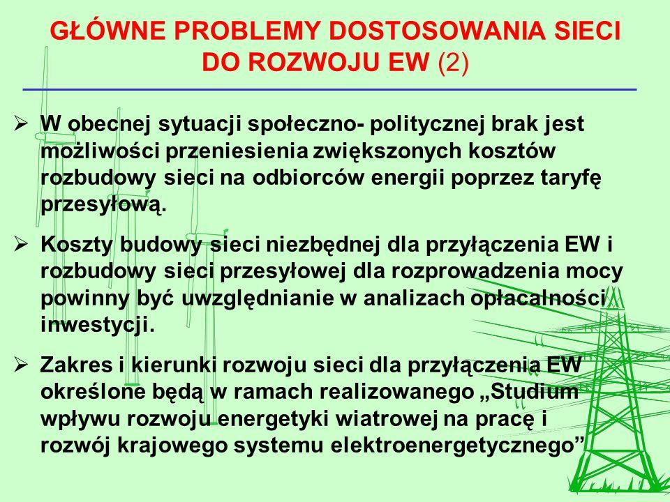 GŁÓWNE PROBLEMY DOSTOSOWANIA SIECI DO ROZWOJU EW (2) W obecnej sytuacji społeczno- politycznej brak jest możliwości przeniesienia zwiększonych kosztów