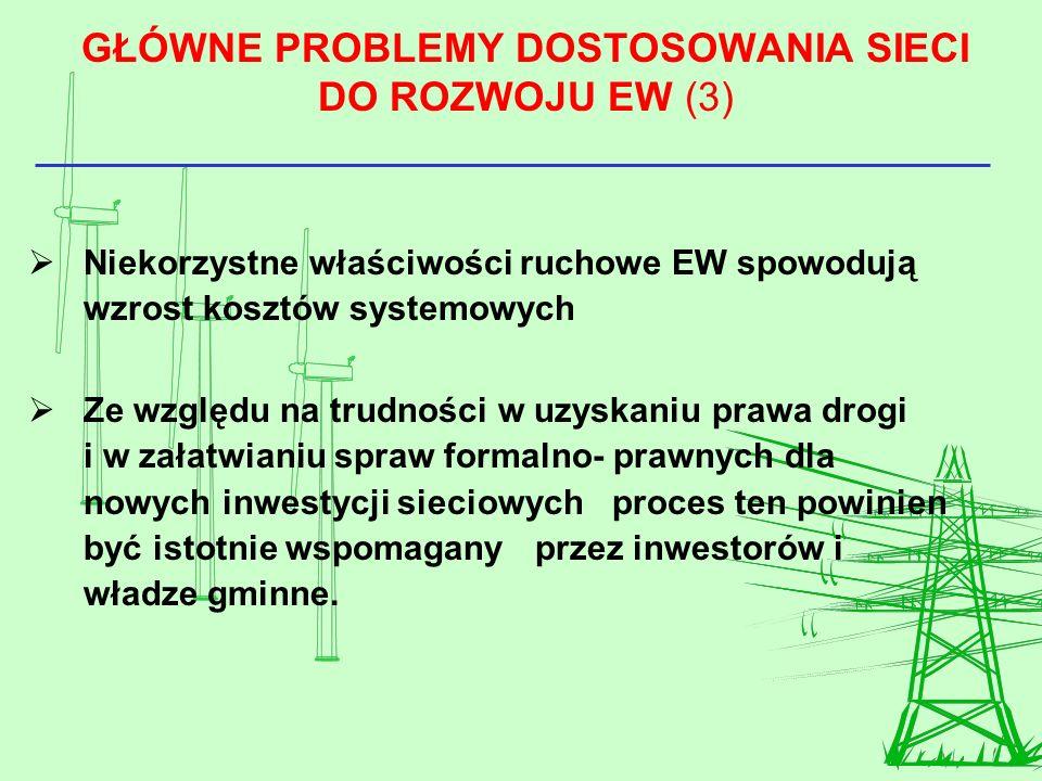 GŁÓWNE PROBLEMY DOSTOSOWANIA SIECI DO ROZWOJU EW (3) Niekorzystne właściwości ruchowe EW spowodują wzrost kosztów systemowych Ze względu na trudności