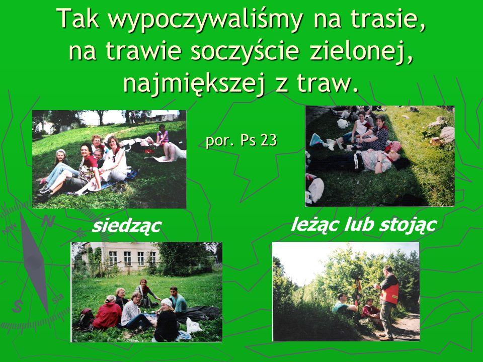 Tak wypoczywaliśmy na trasie, na trawie soczyście zielonej, najmiększej z traw. por. Ps 23 siedząc leżąc lub stojąc