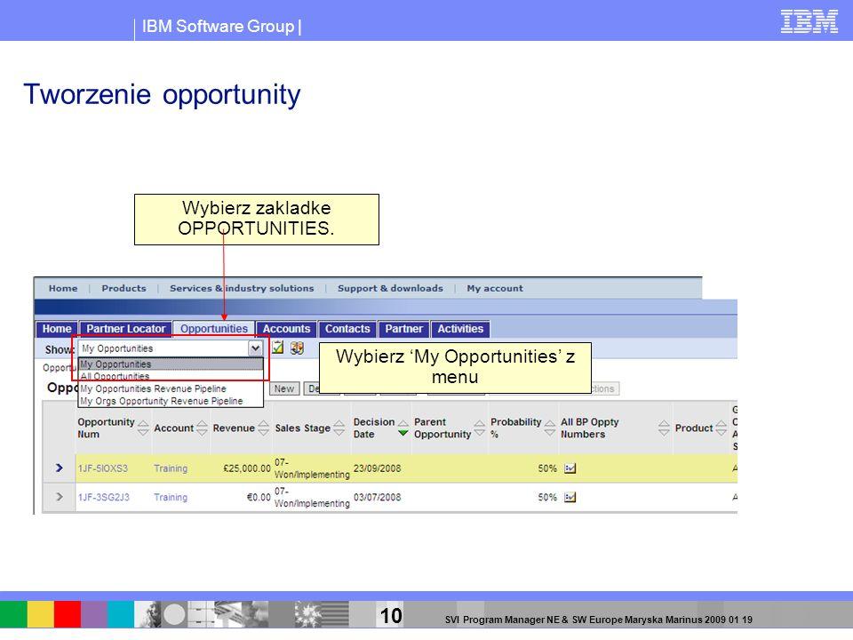IBM Software Group | 10 SVI Program Manager NE & SW Europe Maryska Marinus 2009 01 19 Tworzenie opportunity Wybierz zakladke OPPORTUNITIES. Wybierz My