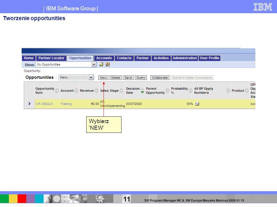 IBM Software Group | 11 SVI Program Manager NE & SW Europe Maryska Marinus 2009 01 19 Wybierz NEW Tworzenie opportunities