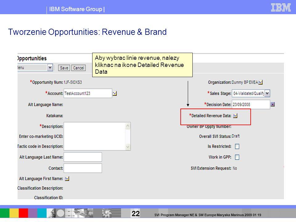 IBM Software Group | 22 SVI Program Manager NE & SW Europe Maryska Marinus 2009 01 19 Tworzenie Opportunities: Revenue & Brand Aby wybrac linie revenu