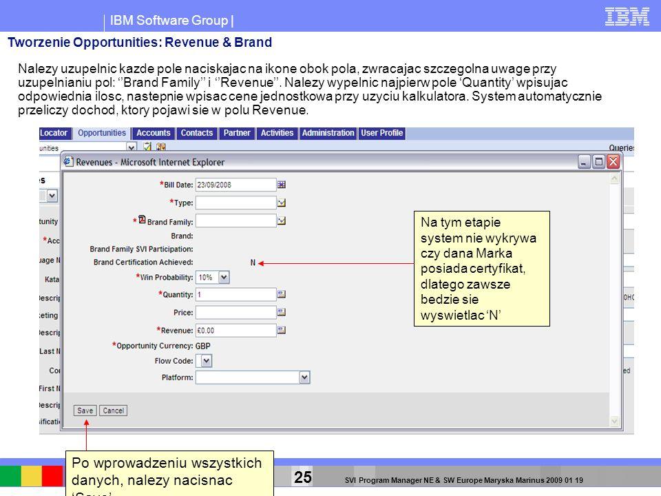 IBM Software Group | 25 SVI Program Manager NE & SW Europe Maryska Marinus 2009 01 19 Nalezy uzupelnic kazde pole naciskajac na ikone obok pola, zwrac