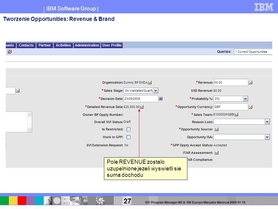 IBM Software Group | 27 SVI Program Manager NE & SW Europe Maryska Marinus 2009 01 19 Pole REVENUE zostalo uzupelnione jezeli wyswietli sie suma docho