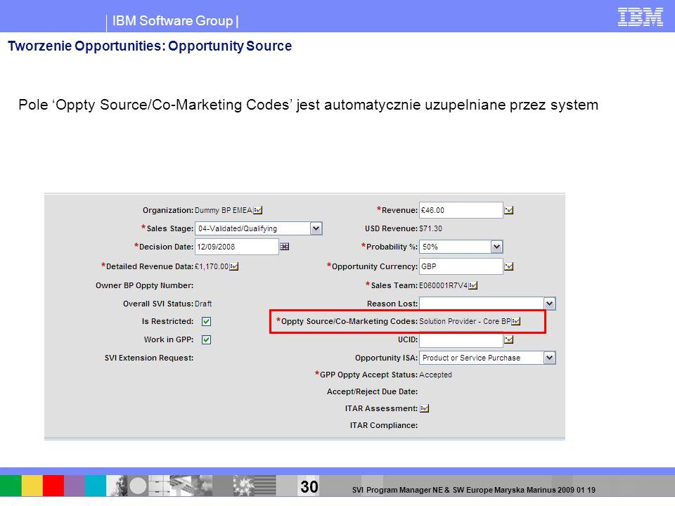 IBM Software Group | 30 SVI Program Manager NE & SW Europe Maryska Marinus 2009 01 19 Tworzenie Opportunities: Opportunity Source Pole Oppty Source/Co