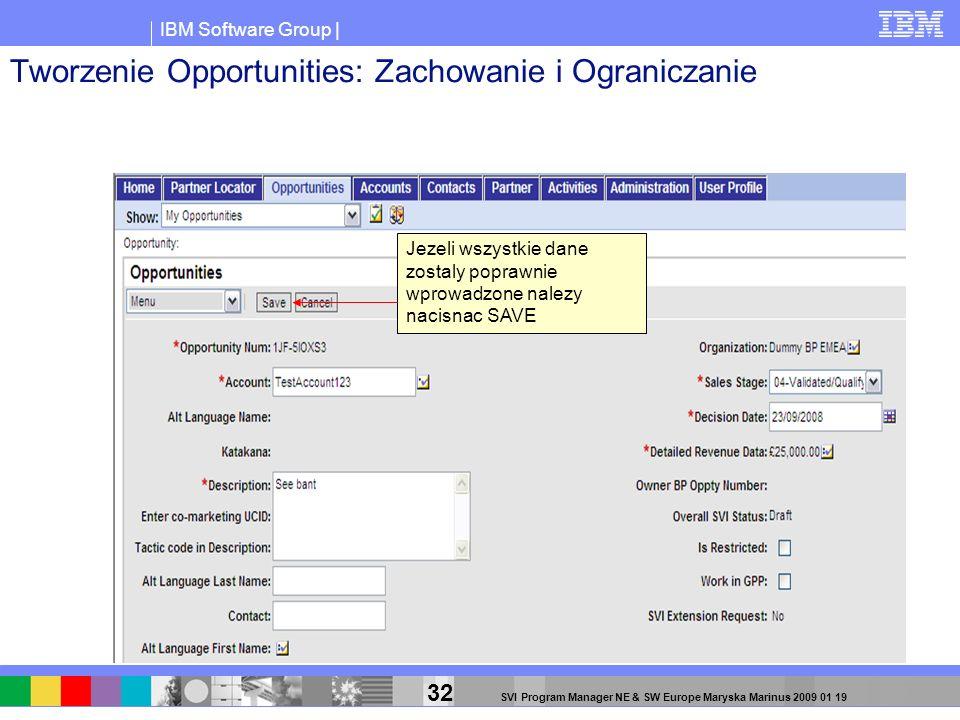 IBM Software Group | 32 SVI Program Manager NE & SW Europe Maryska Marinus 2009 01 19 Tworzenie Opportunities: Zachowanie i Ograniczanie Jezeli wszyst