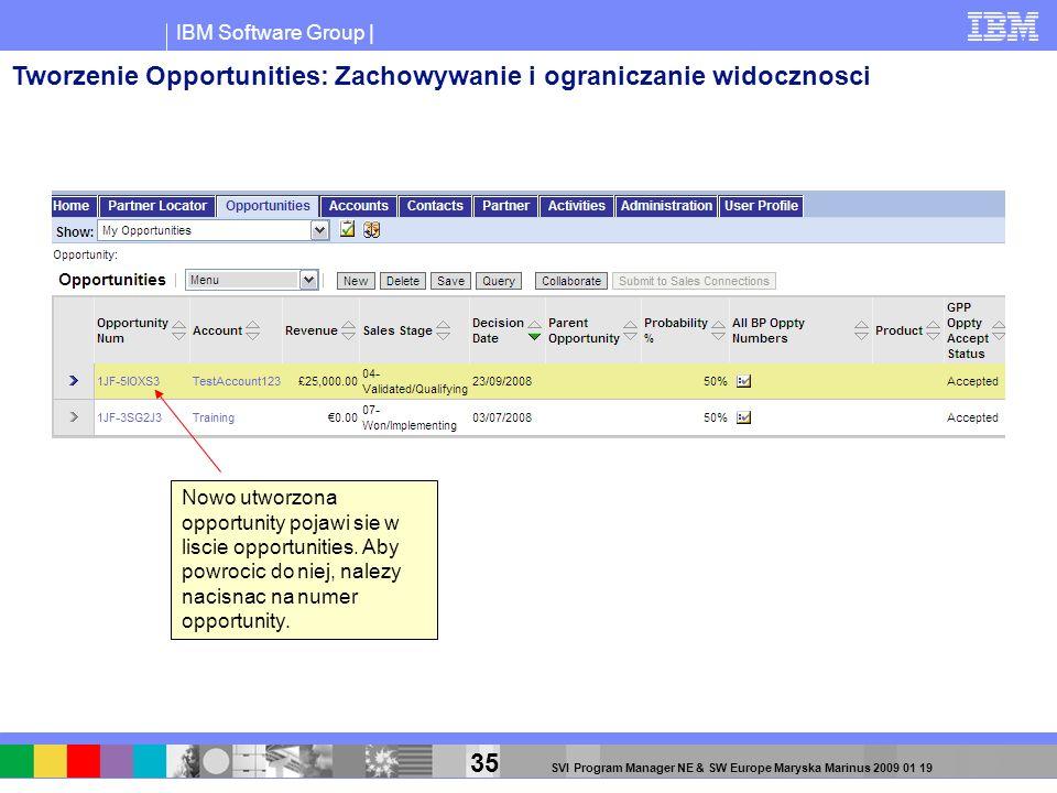 IBM Software Group | 35 SVI Program Manager NE & SW Europe Maryska Marinus 2009 01 19 Nowo utworzona opportunity pojawi sie w liscie opportunities. Ab