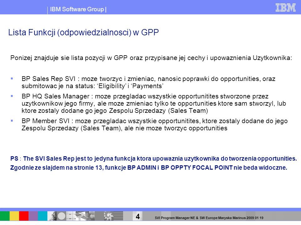 IBM Software Group | 4 SVI Program Manager NE & SW Europe Maryska Marinus 2009 01 19 Lista Funkcji (odpowiedzialnosci) w GPP Ponizej znajduje sie list