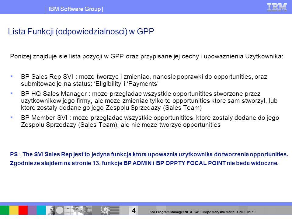 IBM Software Group | 45 SVI Program Manager NE & SW Europe Maryska Marinus 2009 01 19 Po znalezieniu dokumentu BANT, nalezy go dodac.