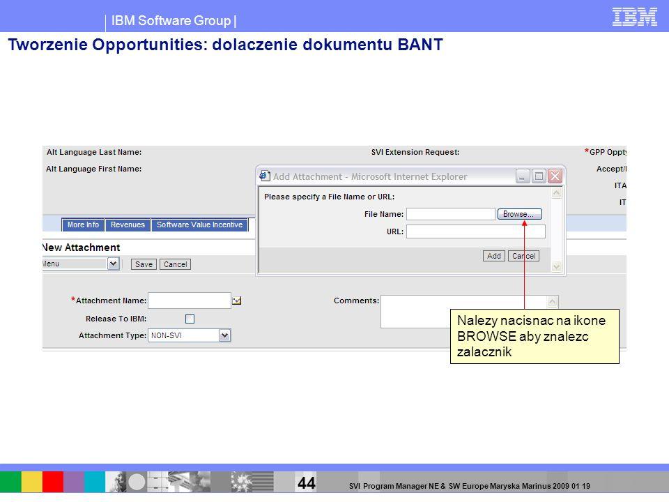 IBM Software Group | 44 SVI Program Manager NE & SW Europe Maryska Marinus 2009 01 19 Nalezy nacisnac na ikone BROWSE aby znalezc zalacznik Tworzenie