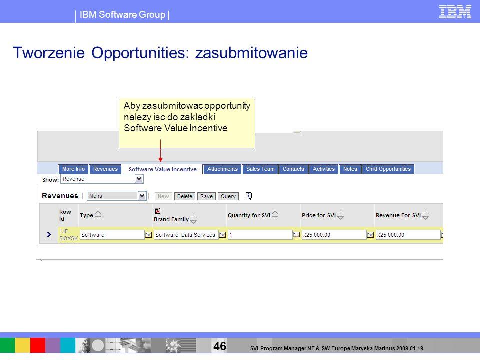 IBM Software Group | 46 SVI Program Manager NE & SW Europe Maryska Marinus 2009 01 19 Tworzenie Opportunities: zasubmitowanie Aby zasubmitowac opportu