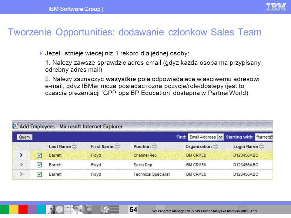 IBM Software Group | 54 SVI Program Manager NE & SW Europe Maryska Marinus 2009 01 19 Tworzenie Opportunities: dodawanie czlonkow Sales Team Jezeli is