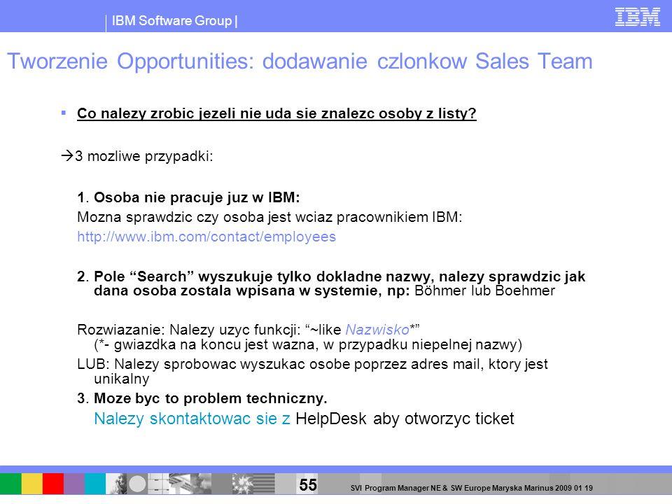 IBM Software Group | 55 SVI Program Manager NE & SW Europe Maryska Marinus 2009 01 19 Tworzenie Opportunities: dodawanie czlonkow Sales Team Co nalezy