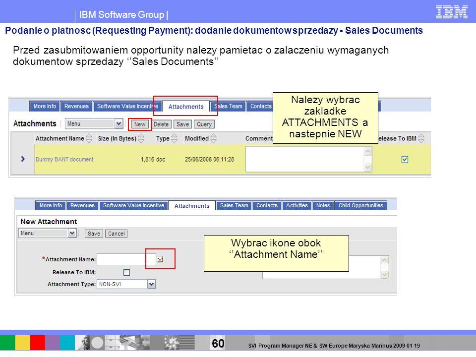 IBM Software Group | 60 SVI Program Manager NE & SW Europe Maryska Marinus 2009 01 19 Przed zasubmitowaniem opportunity nalezy pamietac o zalaczeniu w