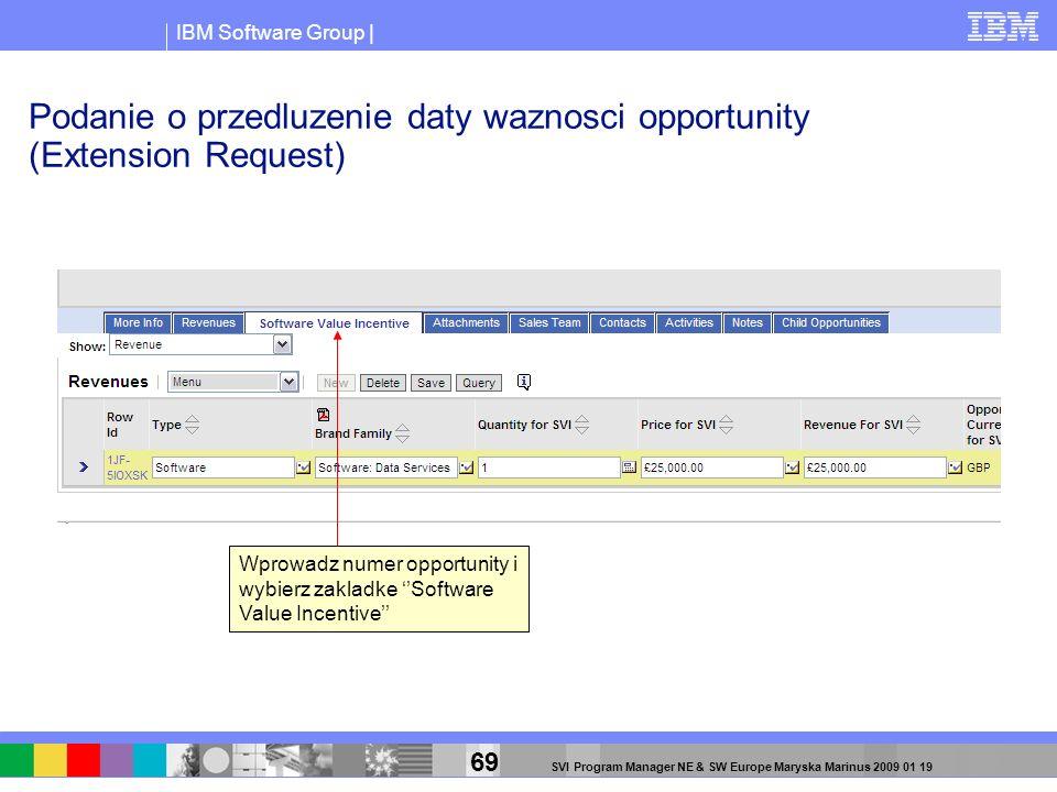 IBM Software Group | 69 SVI Program Manager NE & SW Europe Maryska Marinus 2009 01 19 Podanie o przedluzenie daty waznosci opportunity (Extension Requ