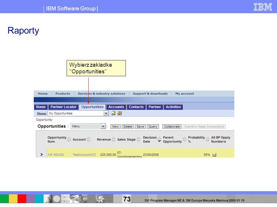 IBM Software Group | 73 SVI Program Manager NE & SW Europe Maryska Marinus 2009 01 19 Raporty Wybierz zakladke Opportunities