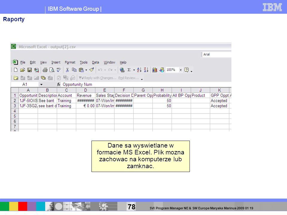 IBM Software Group | 78 SVI Program Manager NE & SW Europe Maryska Marinus 2009 01 19 Dane sa wyswietlane w formacie MS Excel. Plik mozna zachowac na