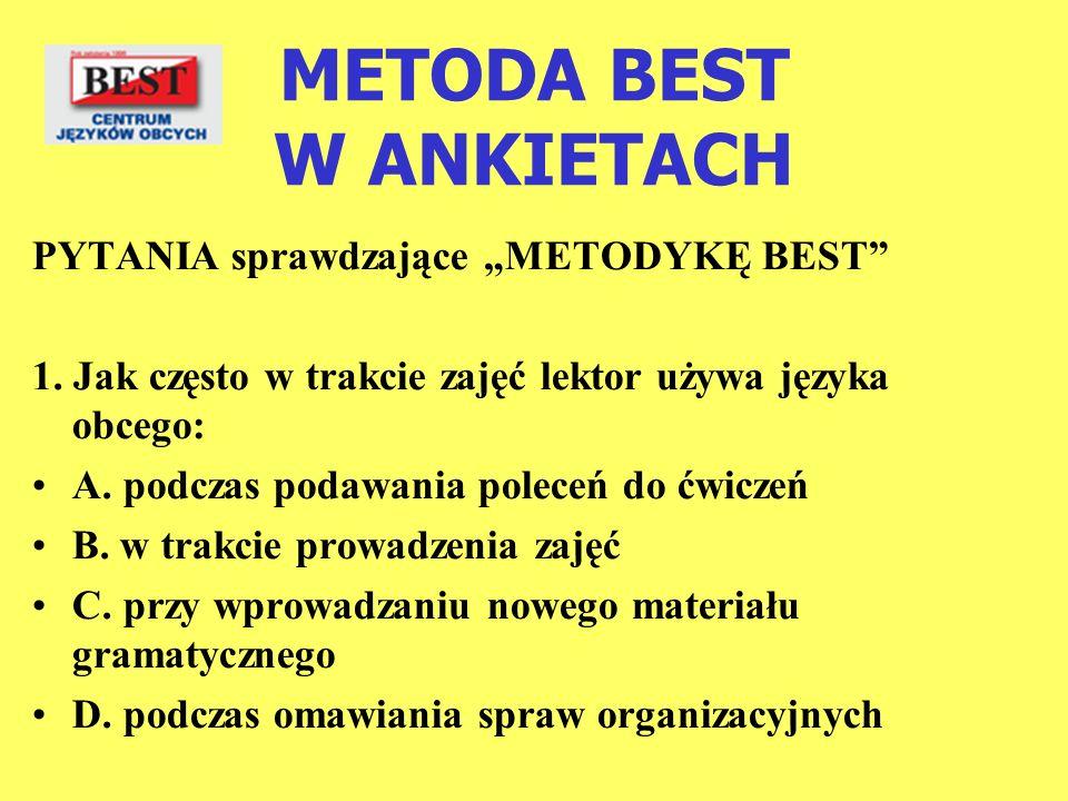 METODA BEST W ANKIETACH PYTANIA sprawdzające METODYKĘ BEST 1. Jak często w trakcie zajęć lektor używa języka obcego: A. podczas podawania poleceń do ć