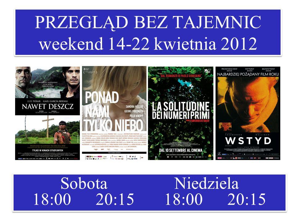 PRZEGLĄD BEZ TAJEMNIC weekend 14-22 kwietnia 2012 Sobota Niedziela 18:00 20:15 18:00 20:15