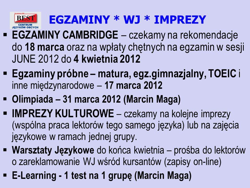 EGZAMINY * WJ * IMPREZY EGZAMINY CAMBRIDGE – czekamy na rekomendacje do 18 marca oraz na wpłaty chętnych na egzamin w sesji JUNE 2012 do 4 kwietnia 20